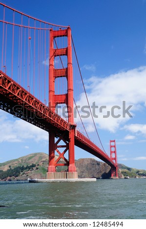 Golden Gate Bridge from Fort Point - Vertical (portrait) orientation - stock photo