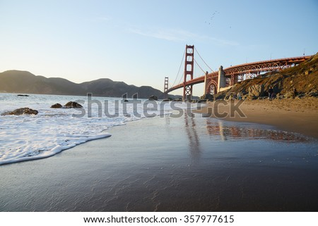 golden gate bridge from marshall beach