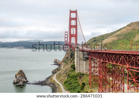 Golden Gate bridge from North Vista point - stock photo