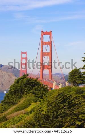 Golden Gate bridge from the peninsula looking towards Marin - stock photo