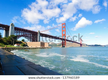 Golden Gate Bridge from the Presidio - stock photo