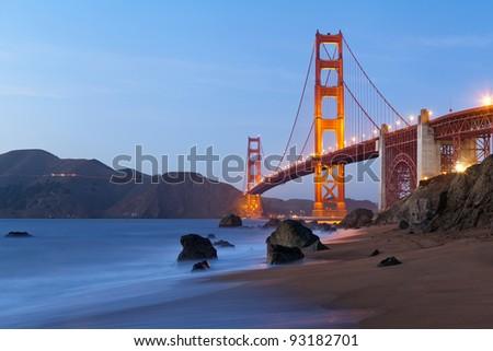 Golden Gate Bridge. Golden Gate Bridge in San Francisco California after sunset. - stock photo