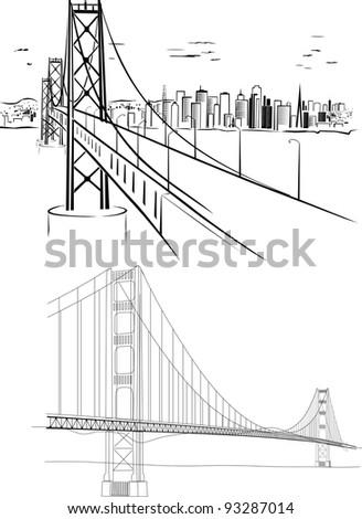 Golden Gate bridge - hand drawing illustrations - stock photo
