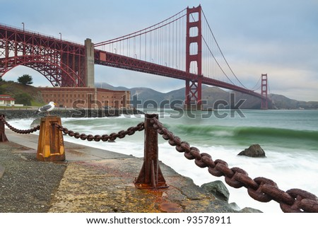 Golden Gate Bridge. Image of Golden Gate Bridge in San Francisco California. - stock photo