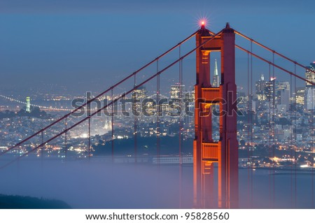 Golden Gate Bridge. Image of Golden Gate Bridge with San Francisco skyline in the background. - stock photo