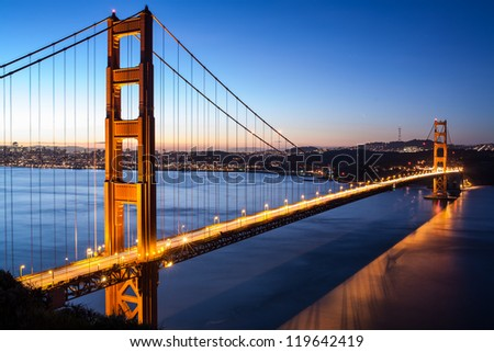 Golden Gate Bridge in early morning - San Francisco - stock photo