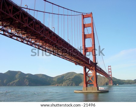Golden Gate Bridge in San Francisco as viewed from Fort Mason - stock photo