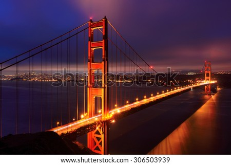Golden Gate Bridge in San Francisco at night, California, USA