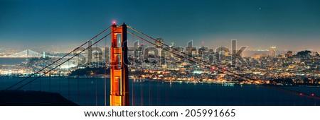 Golden Gate Bridge in San Francisco at night panorama - stock photo