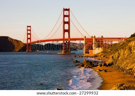 Golden Gate Bridge in San Francisco at sunset - stock photo