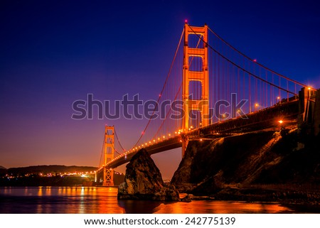 Golden Gate Bridge in San Francisco, CA, as seen from Vista Point near Horseshoe Bay-California-Central-Coast - stock photo