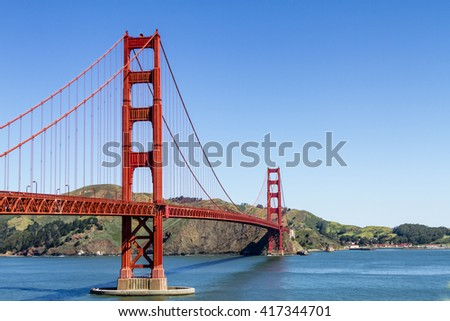 Golden Gate Bridge in San Francisco California from scenic park overlook