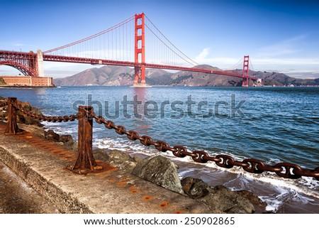 Golden Gate Bridge in San Francisco, California. Iconic landmark.  - stock photo
