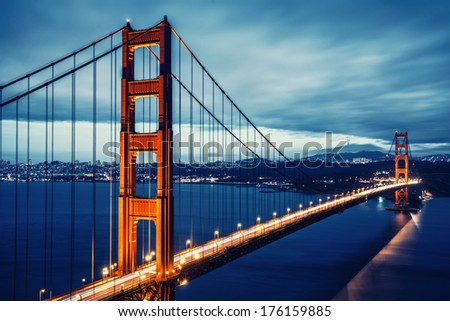 Golden Gate Bridge in San Francisco, California, USA, special photographic processing - stock photo