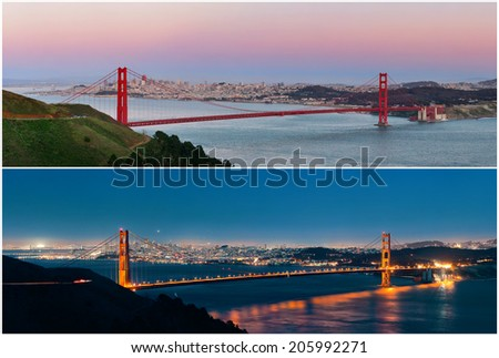 Golden Gate Bridge in San Francisco in day and at night - stock photo