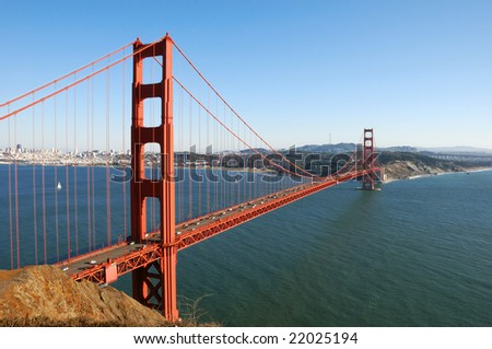 Golden Gate Bridge in San Francisco on a sunny afternoon - stock photo