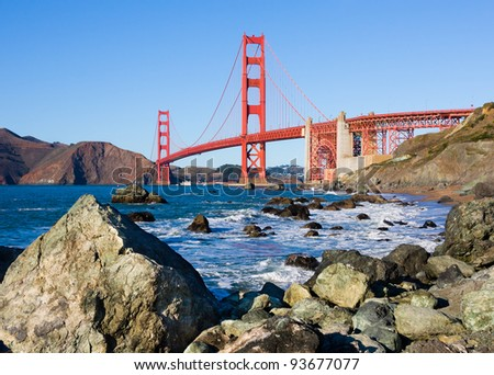 Golden Gate Bridge in San Francisco on a sunny day - stock photo