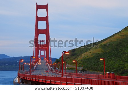 Golden Gate Bridge in San Francisco on an Early Morning. - stock photo