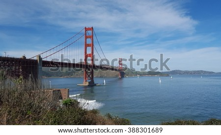 Golden Gate Bridge is one of the most famous landmarks of San Francisco and California.