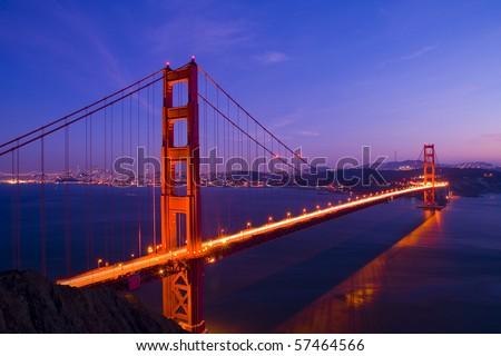 Golden Gate bridge long shutter speed long exposure - stock photo