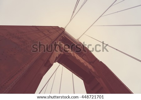 Golden gate bridge ,looking up,San Francisco,California,usa.