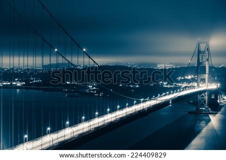 Golden Gate Bridge Night Scenery. San Francisco, USA. - stock photo