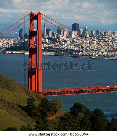 Golden Gate Bridge North Tower and San Francisco Skyline as seen from Marin Headlands - stock photo