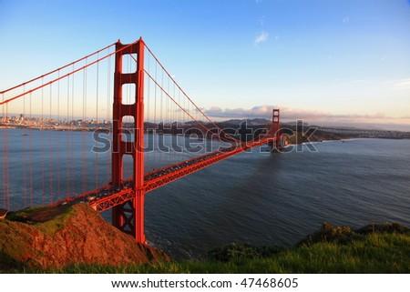 Golden Gate Bridge of San Francisco at evening - stock photo