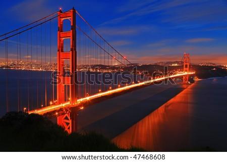 Golden Gate Bridge of San Francisco at night - stock photo