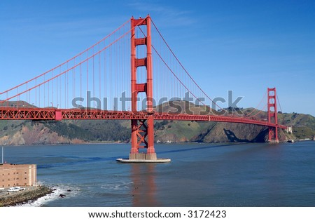 Golden Gate Bridge on a fine spring day shot from Fort Point viewpoint in San Francisco, California.