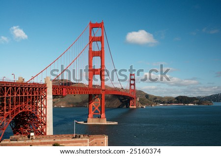 Golden Gate Bridge on a sunny spring morning. Shot from the Fort Point viewpoint. - stock photo