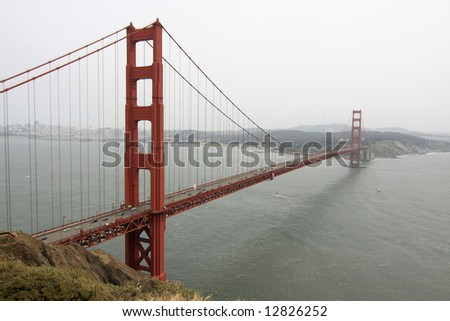 Golden Gate Bridge on an overcast day, San Francisco, California