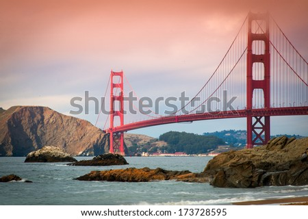 Golden Gate Bridge over the San Francisco Bay, San Francisco, California, USA - stock photo