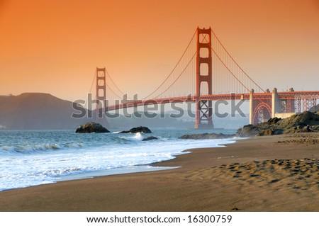 Golden Gate Bridge, San Francisco at sunset - stock photo