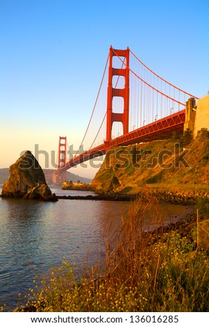 Golden Gate Bridge, San Francisco, California, from Marin County side, at daybreak - stock photo