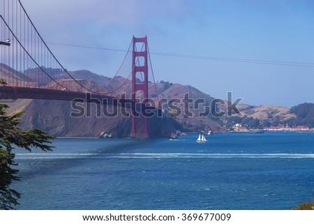 Golden Gate Bridge, San Francisco, California, USA during a clean sunny day - stock photo