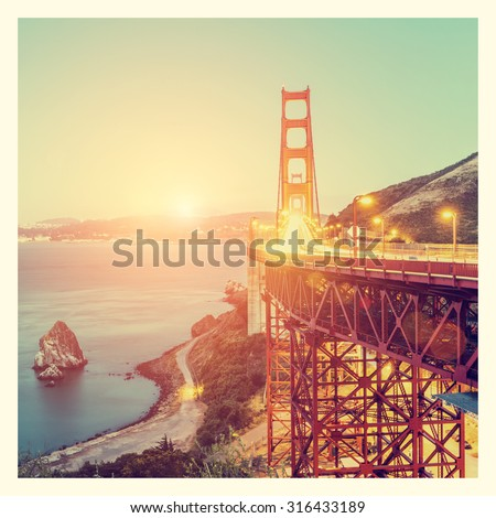Golden Gate Bridge, San Francisco, California, USA, with Instagram style filter - stock photo