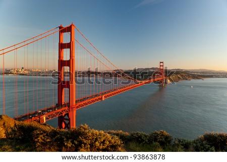 Golden Gate Bridge, San Francisco. Sunset. - stock photo