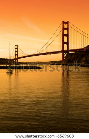Golden Gate Bridge, San Francisco. This shot is  processed for a sunrise / sunset look.