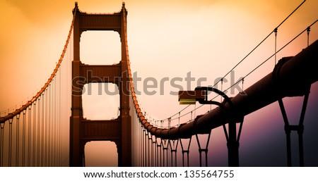Golden Gate Bridge San Francisco top - stock photo