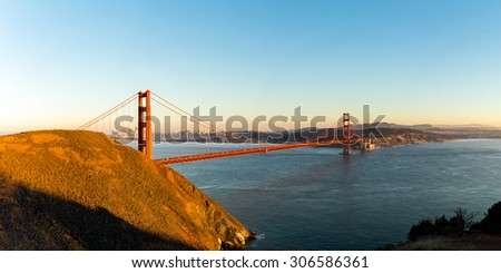 Golden Gate bridge, San Francisco, USA. Panoramic image.