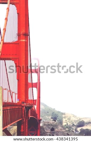 Golden Gate bridge, San Francisco, USA with foggy sky in winter