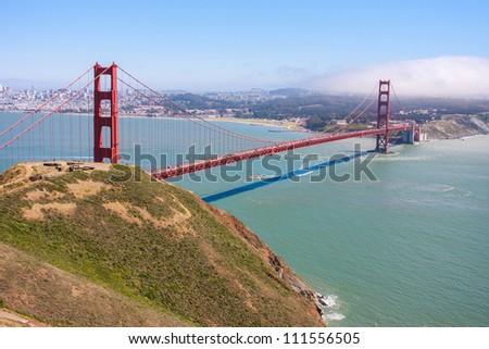 Golden Gate Bridge seen from Marin Headlands - stock photo