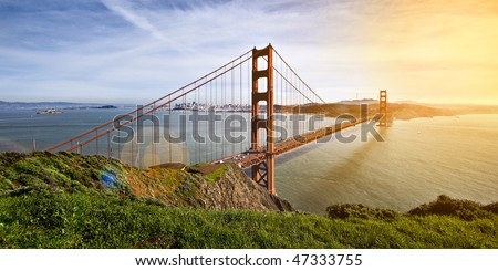 Golden Gate Bridge seen from the Marin Headlands includes Alcatraz on the left to the Presidio and Baker Beach on the right - stock photo
