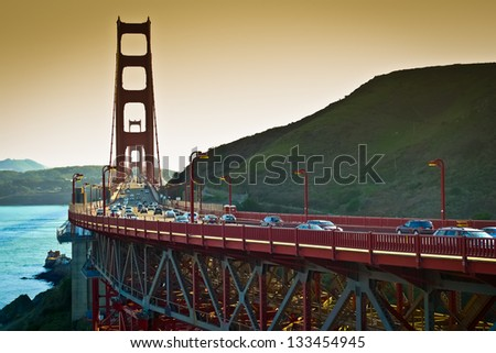 Golden Gate bridge seen from Vista Point, Sausalito, California, USA - stock photo