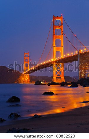 Golden Gate bridge shortly after sunset - stock photo