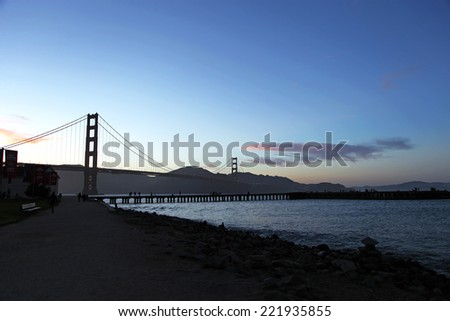 Golden Gate Bridge silhouette at dawn