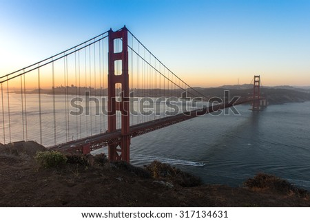 Golden Gate Bridge Sunrise from Marin Headland