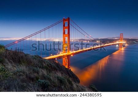 Golden Gate Bridge Sunset - stock photo