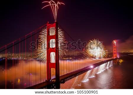 Golden Gate Bridge 75th Anniversary Fireworks Celebration - stock photo